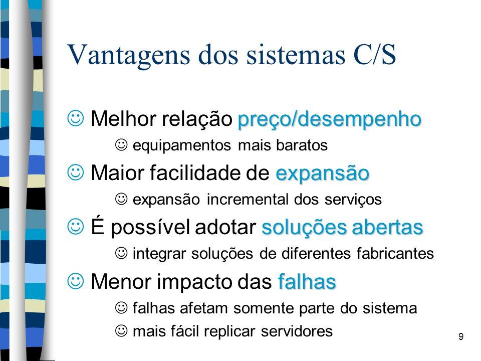 9 Vantagens dos sistemas C/S preço/desempenho Melhor relação preço/desempenho equipamentos mais baratos expansão Maior facilidade de expansão expansão