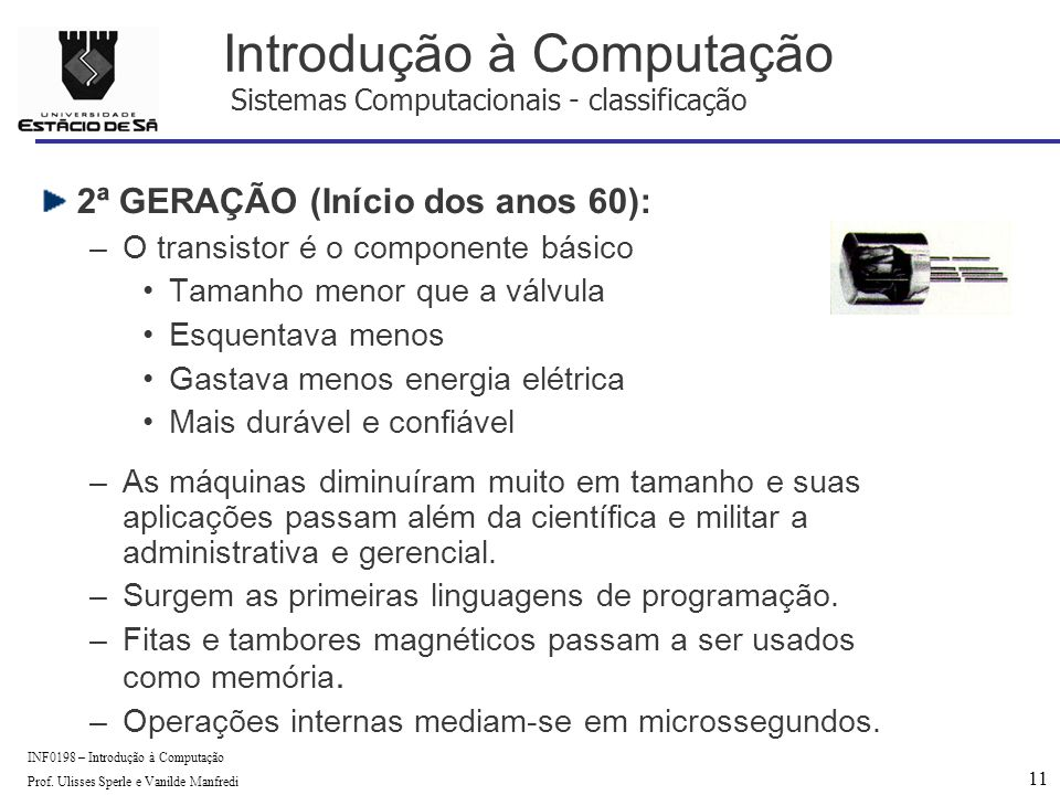 11 INF0198 – Introdução à Computação Prof.