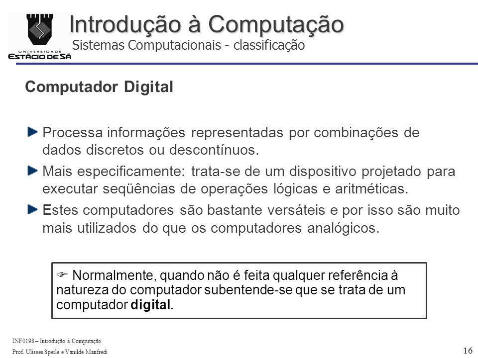16 INF0198 – Introdução à Computação Prof.