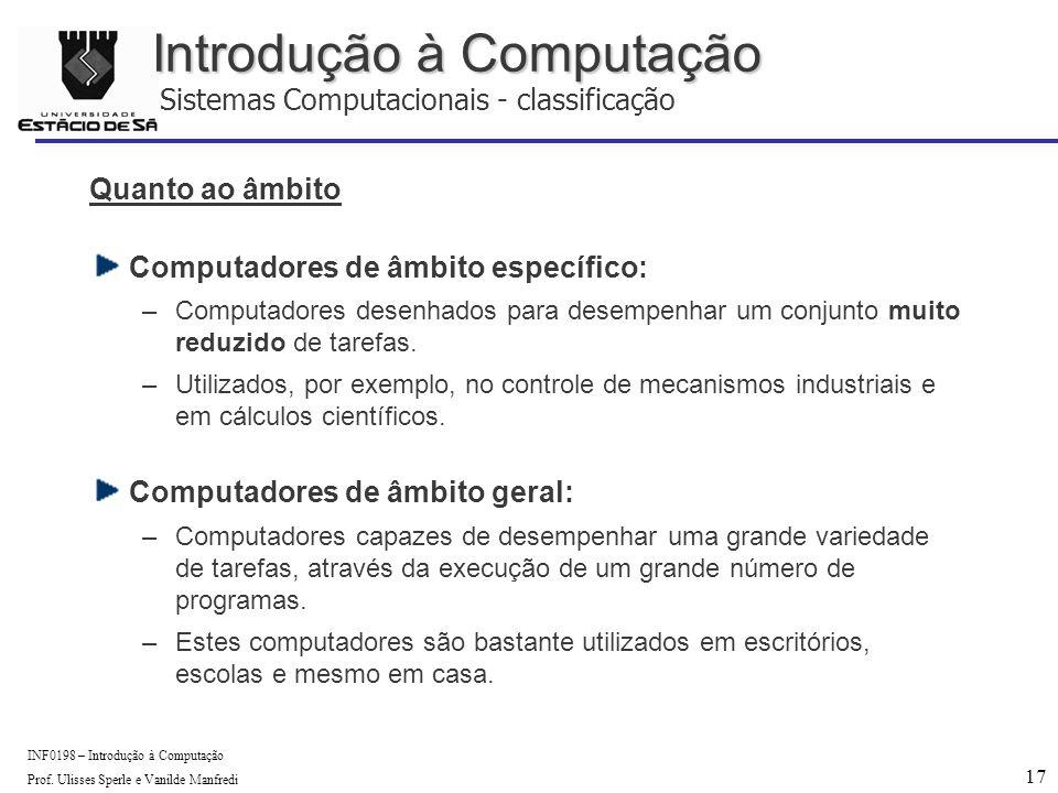 17 INF0198 – Introdução à Computação Prof.