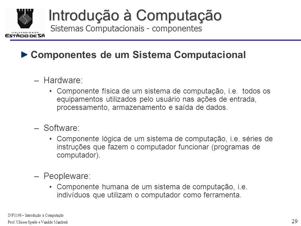 29 INF0198 – Introdução à Computação Prof.