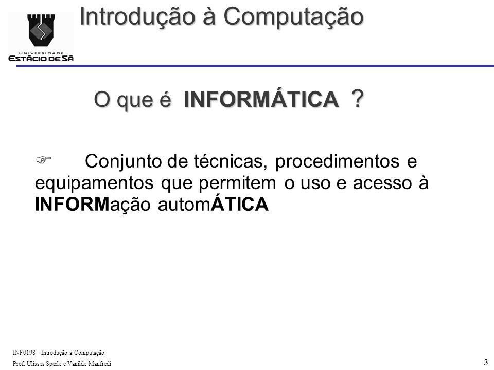3 INF0198 – Introdução à Computação Prof. Ulisses Sperle e Vanilde Manfredi O que é INFORMÁTICA .