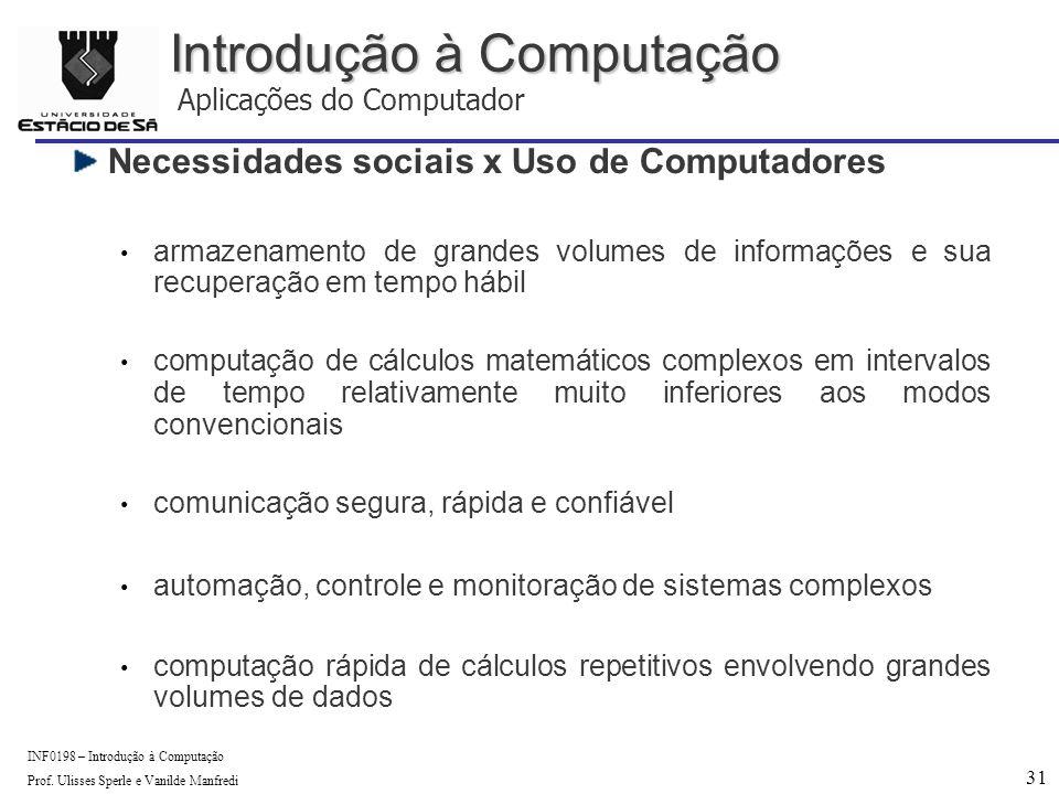 31 INF0198 – Introdução à Computação Prof.