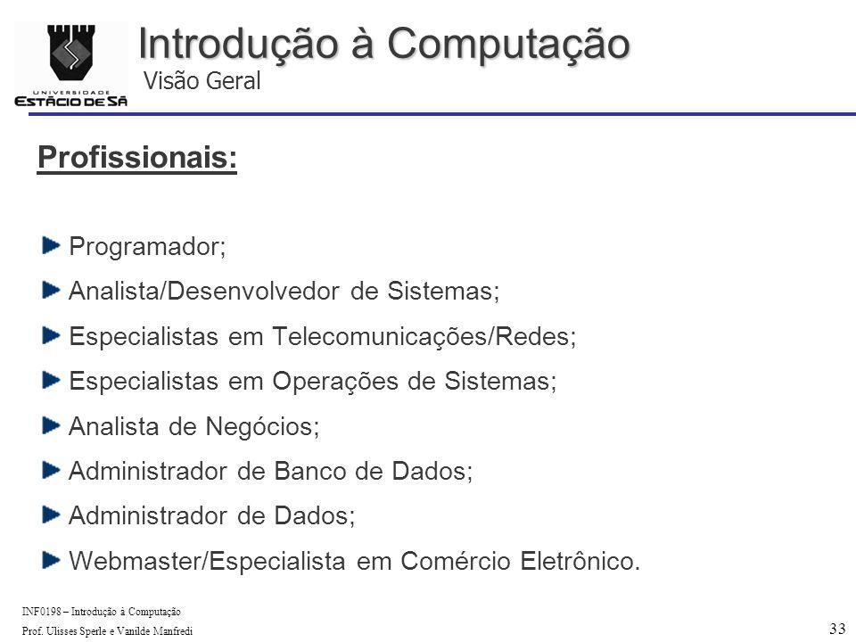 33 INF0198 – Introdução à Computação Prof.