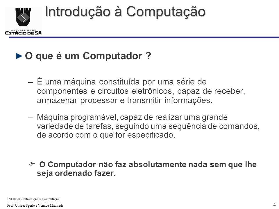 4 INF0198 – Introdução à Computação Prof. Ulisses Sperle e Vanilde Manfredi O que é um Computador .
