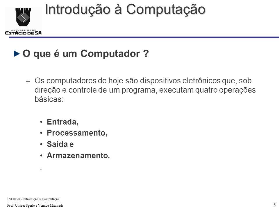 5 INF0198 – Introdução à Computação Prof. Ulisses Sperle e Vanilde Manfredi O que é um Computador .