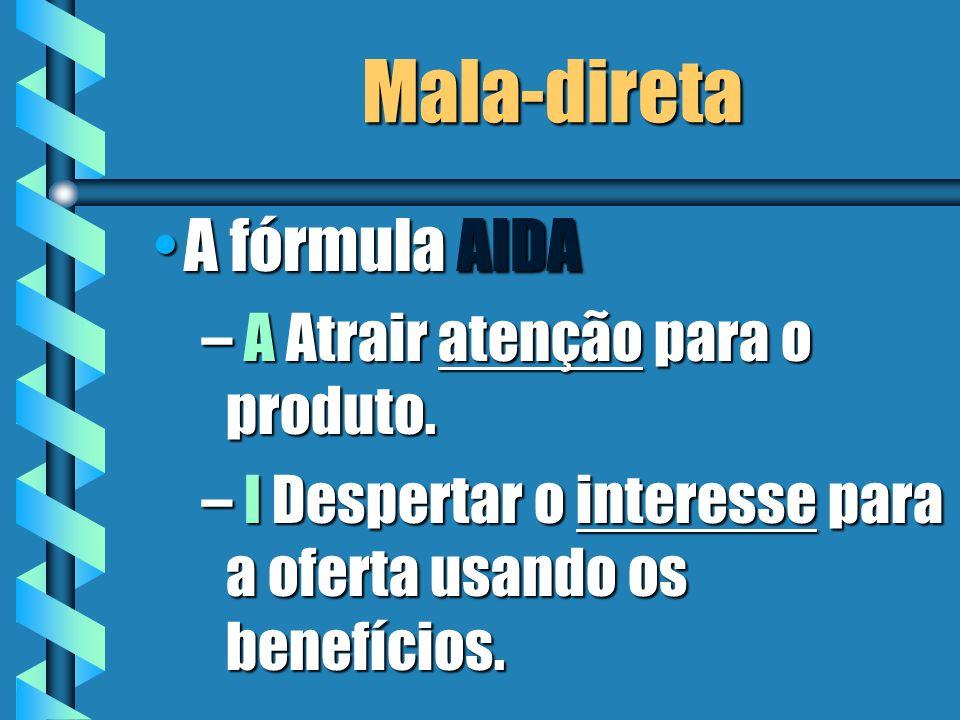 Mala-direta A fórmula AIDAA fórmula AIDA – A Atrair atençãopara o produto. – A Atrair atenção para o produto. – I Despertar o interesse para a oferta