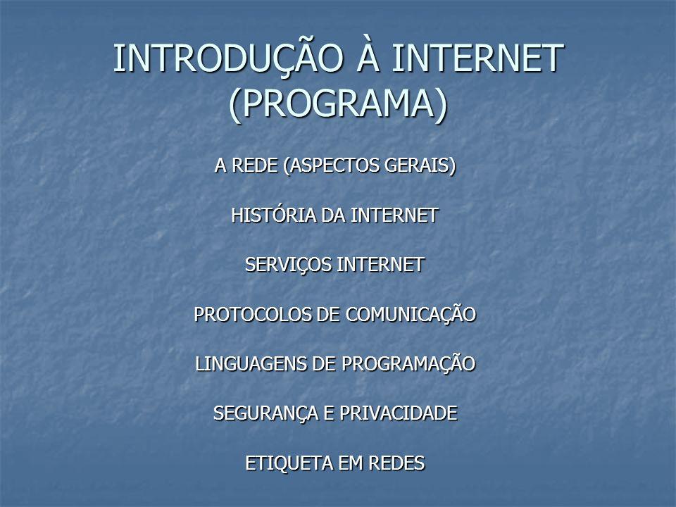 INTRODUÇÃO À INTERNET (PROGRAMA) A REDE (ASPECTOS GERAIS) HISTÓRIA DA INTERNET SERVIÇOS INTERNET PROTOCOLOS DE COMUNICAÇÃO LINGUAGENS DE PROGRAMAÇÃO S