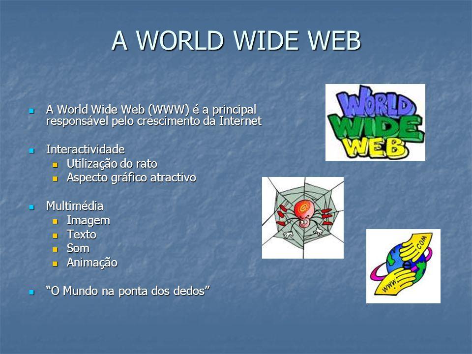 A WORLD WIDE WEB A World Wide Web (WWW) é a principal responsável pelo crescimento da Internet A World Wide Web (WWW) é a principal responsável pelo c