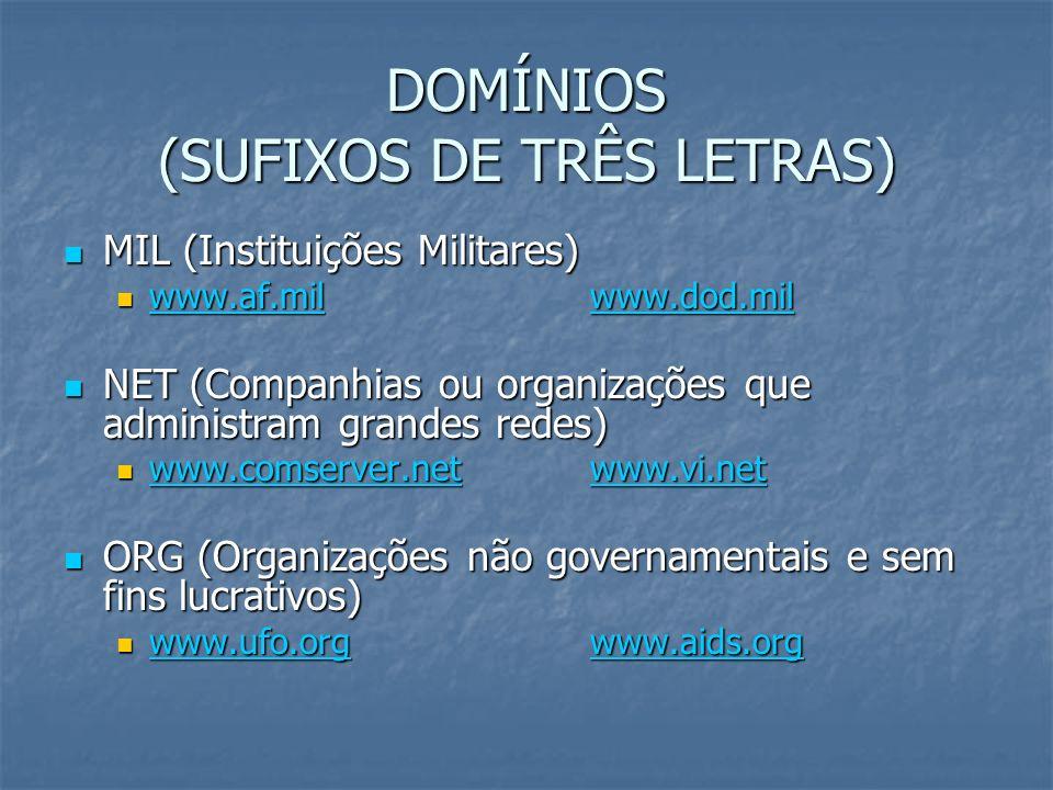 DOMÍNIOS (SUFIXOS DE TRÊS LETRAS) MIL (Instituições Militares) MIL (Instituições Militares) www.af.milwww.dod.mil www.af.milwww.dod.mil www.af.milwww.