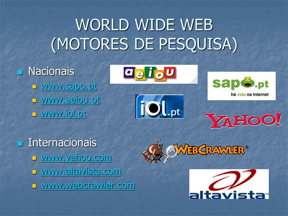 WORLD WIDE WEB (MOTORES DE PESQUISA) Nacionais Nacionais www.sapo.pt www.sapo.pt www.sapo.pt www.aeiou.pt www.aeiou.pt www.aeiou.pt www.iol.pt www.iol