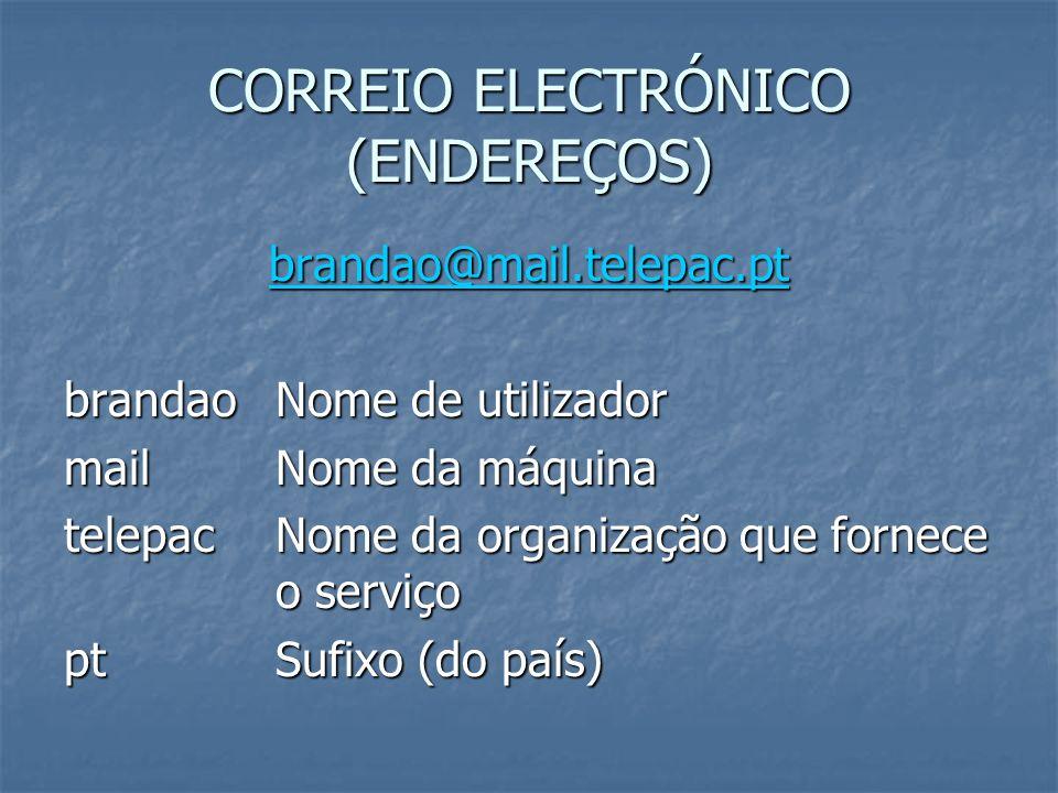 CORREIO ELECTRÓNICO (ENDEREÇOS) brandao@mail.telepac.pt brandaoNome de utilizador mail Nome da máquina telepacNome da organização que fornece o serviç