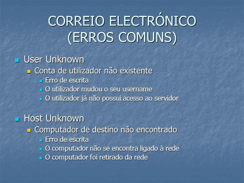 CORREIO ELECTRÓNICO (ERROS COMUNS) User Unknown User Unknown Conta de utilizador não existente Conta de utilizador não existente Erro de escrita Erro