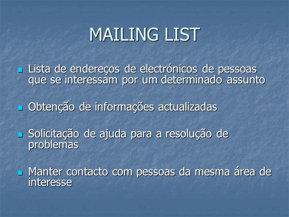MAILING LIST Lista de endereços de electrónicos de pessoas que se interessam por um determinado assunto Lista de endereços de electrónicos de pessoas