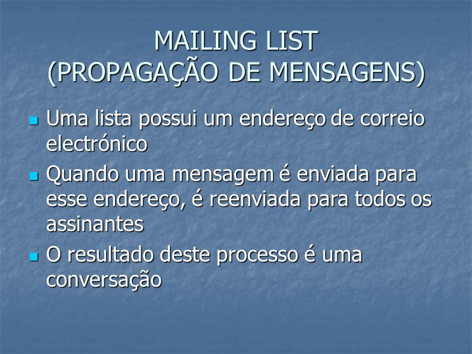 MAILING LIST (PROPAGAÇÃO DE MENSAGENS) Uma lista possui um endereço de correio electrónico Uma lista possui um endereço de correio electrónico Quando