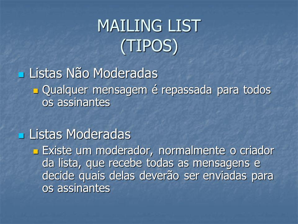 MAILING LIST (TIPOS) Listas Não Moderadas Listas Não Moderadas Qualquer mensagem é repassada para todos os assinantes Qualquer mensagem é repassada pa