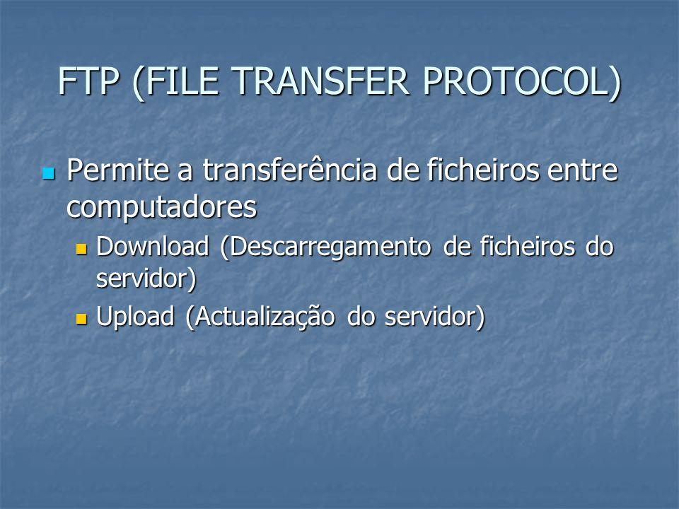 FTP (FILE TRANSFER PROTOCOL) Permite a transferência de ficheiros entre computadores Permite a transferência de ficheiros entre computadores Download