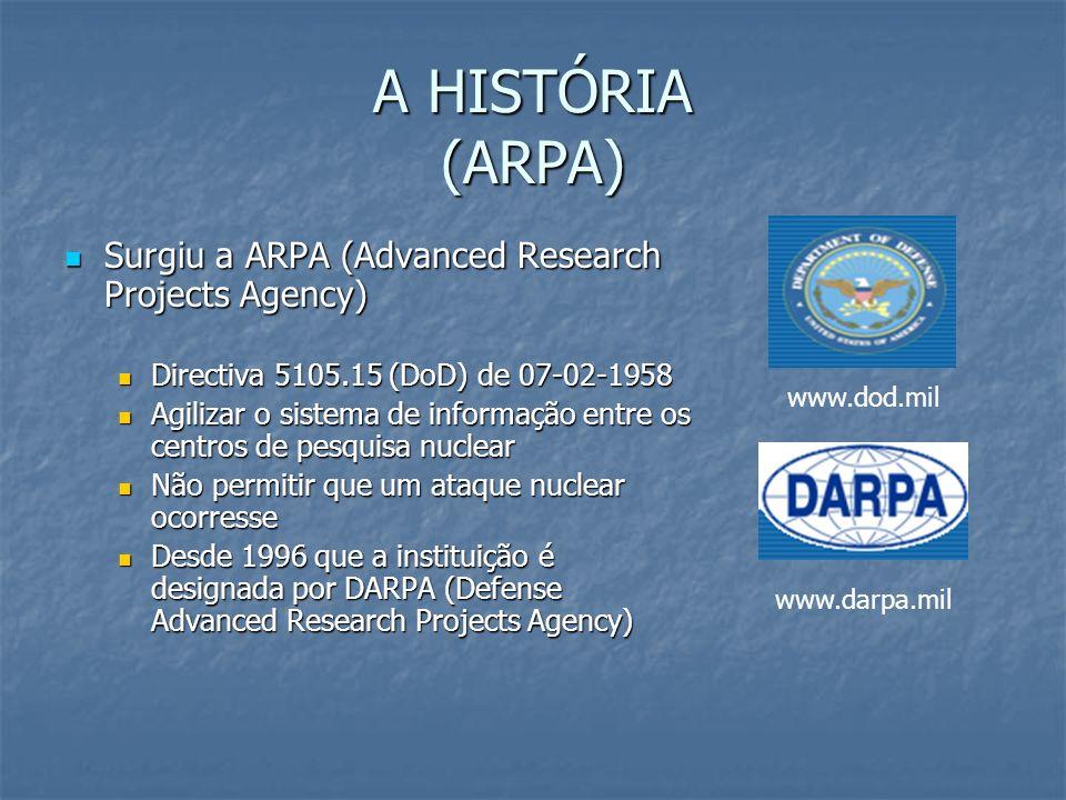 A HISTÓRIA (ARPANET) Década de 60 – Grau de exigência maior Década de 60 – Grau de exigência maior Comunicações lentas Comunicações lentas Perda de informações durante o processo de transferência na rede Perda de informações durante o processo de transferência na rede Em 1969, a ARPA pede ajuda às Universidades e concebe a ARPANET Em 1969, a ARPA pede ajuda às Universidades e concebe a ARPANET Implementação do conceito de comutação de pacotes (idealizado pela RAND Corporation – www.rand.org) Implementação do conceito de comutação de pacotes (idealizado pela RAND Corporation – www.rand.org)www.rand.org Telnet (emulador remoto) Telnet (emulador remoto) Protocolo NCP (Network Control Protocol) Protocolo NCP (Network Control Protocol) Servidores de Rede (UNIX) Servidores de Rede (UNIX) Criação do primeiro Grupo de Discussão – Usenet (Unix User Network) Criação do primeiro Grupo de Discussão – Usenet (Unix User Network)
