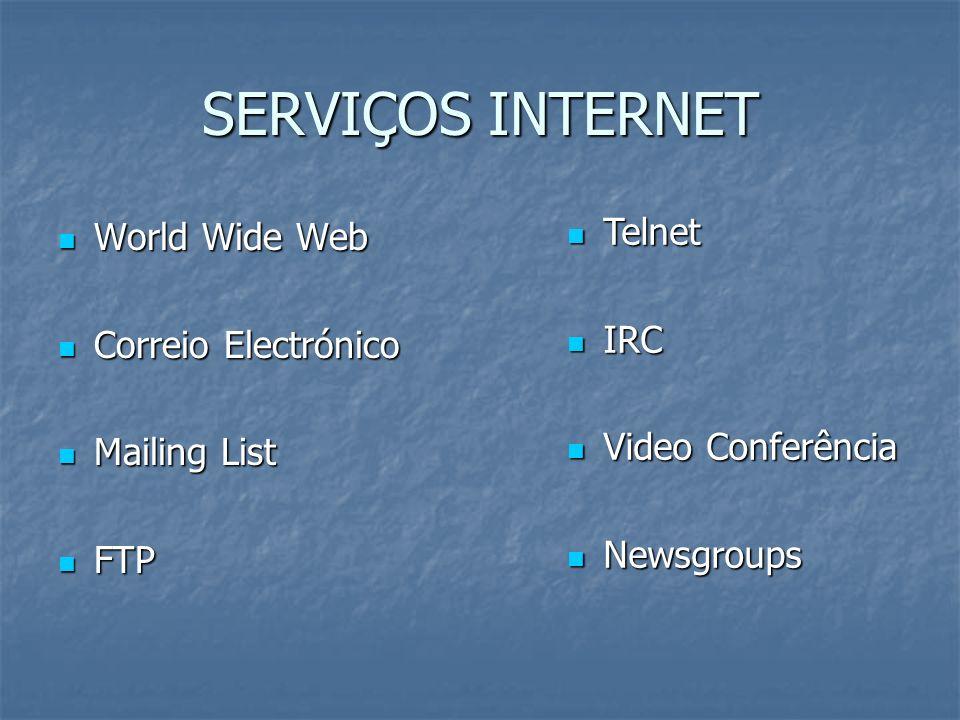 A WORLD WIDE WEB A World Wide Web (WWW) é a principal responsável pelo crescimento da Internet A World Wide Web (WWW) é a principal responsável pelo crescimento da Internet Interactividade Interactividade Utilização do rato Utilização do rato Aspecto gráfico atractivo Aspecto gráfico atractivo Multimédia Multimédia Imagem Imagem Texto Texto Som Som Animação Animação O Mundo na ponta dos dedos O Mundo na ponta dos dedos