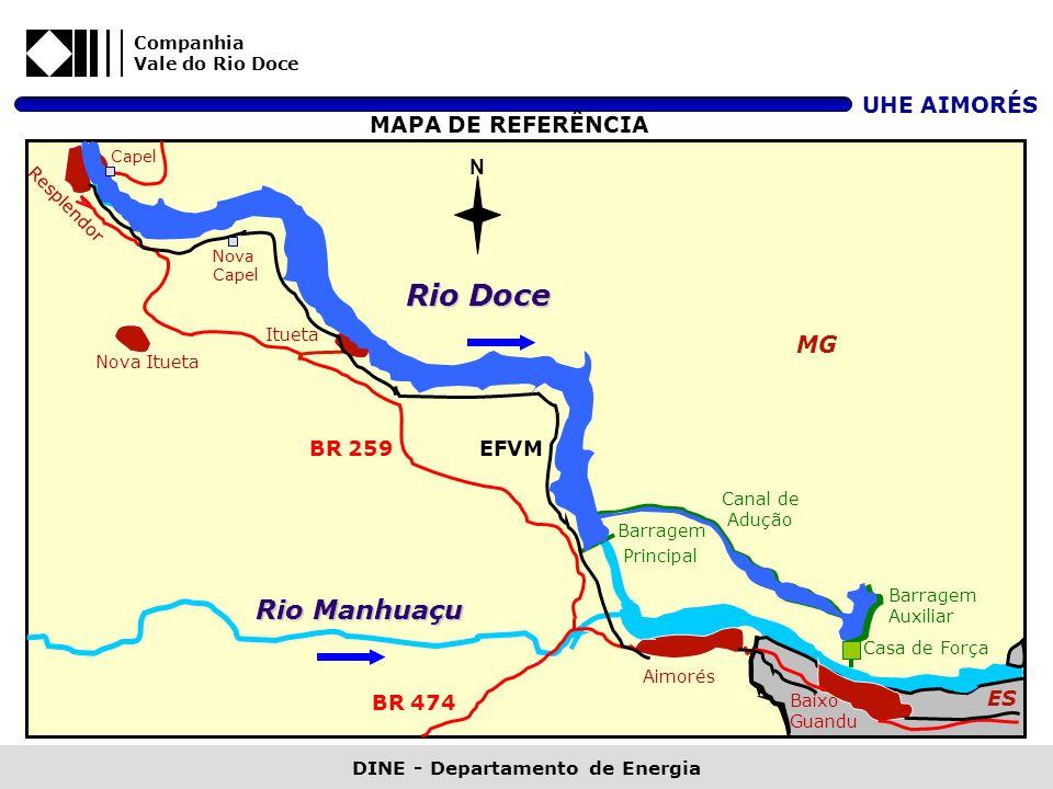 Companhia Vale do Rio Doce UHE AIMORÉS DINE - Departamento de Energia N MG ES Rio Manhuaçu Rio Doce Itueta Aimorés Baixo Guandu Barragem Principal Bar