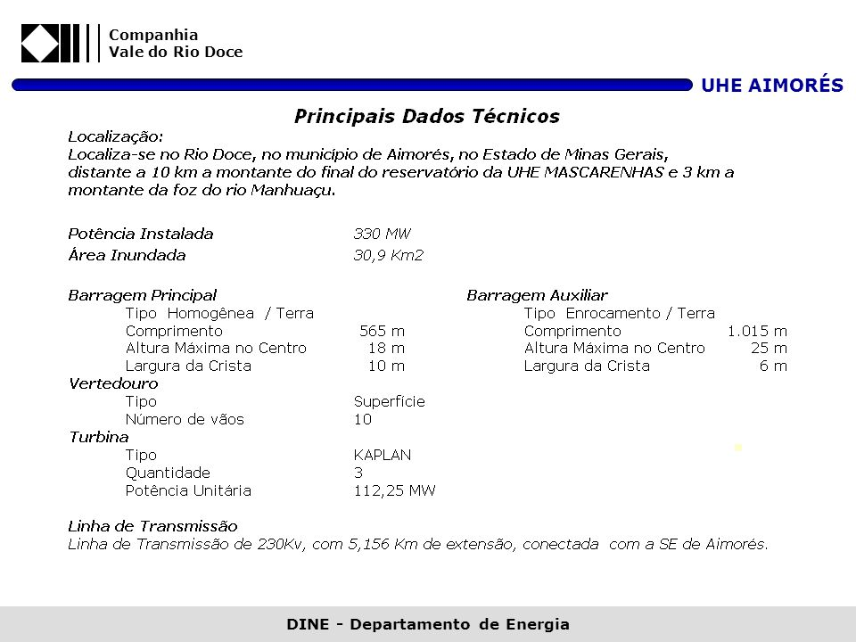 Companhia Vale do Rio Doce UHE AIMORÉS DINE - Departamento de Energia