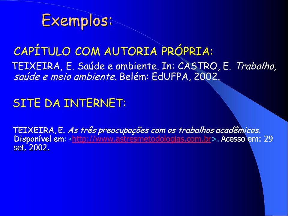 Exemplos: CAPÍTULO COM AUTORIA PRÓPRIA: TEIXEIRA, E. Saúde e ambiente. In: CASTRO, E. Trabalho, saúde e meio ambiente. Belém: EdUFPA, 2002. SITE DA IN