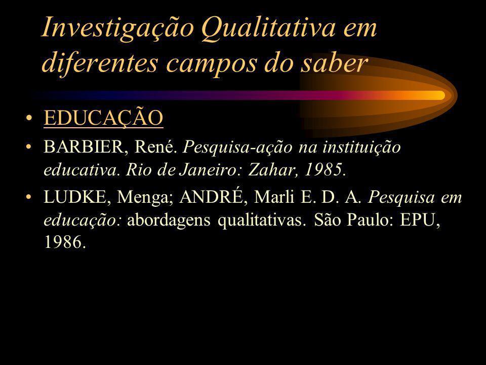 Investigação Qualitativa em diferentes campos do saber EDUCAÇÃO BARBIER, René. Pesquisa-ação na instituição educativa. Rio de Janeiro: Zahar, 1985. LU