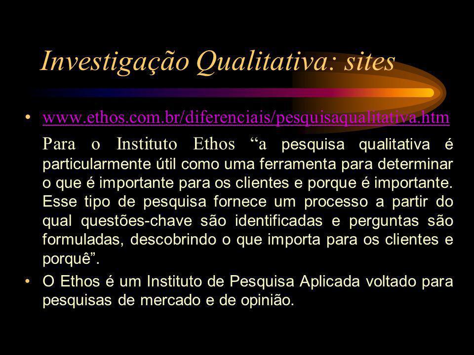Investigação Qualitativa: sites www.ethos.com.br/diferenciais/pesquisaqualitativa.htm Para o Instituto Ethos a pesquisa qualitativa é particularmente