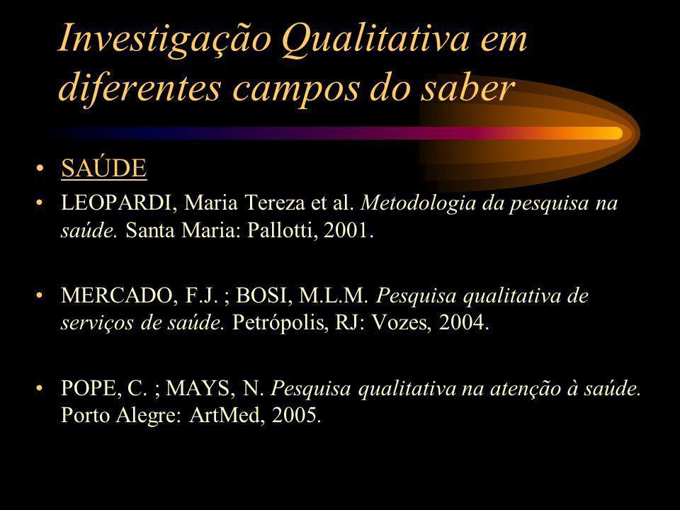 Investigação Qualitativa em diferentes campos do saber SAÚDE LEOPARDI, Maria Tereza et al. Metodologia da pesquisa na saúde. Santa Maria: Pallotti, 20