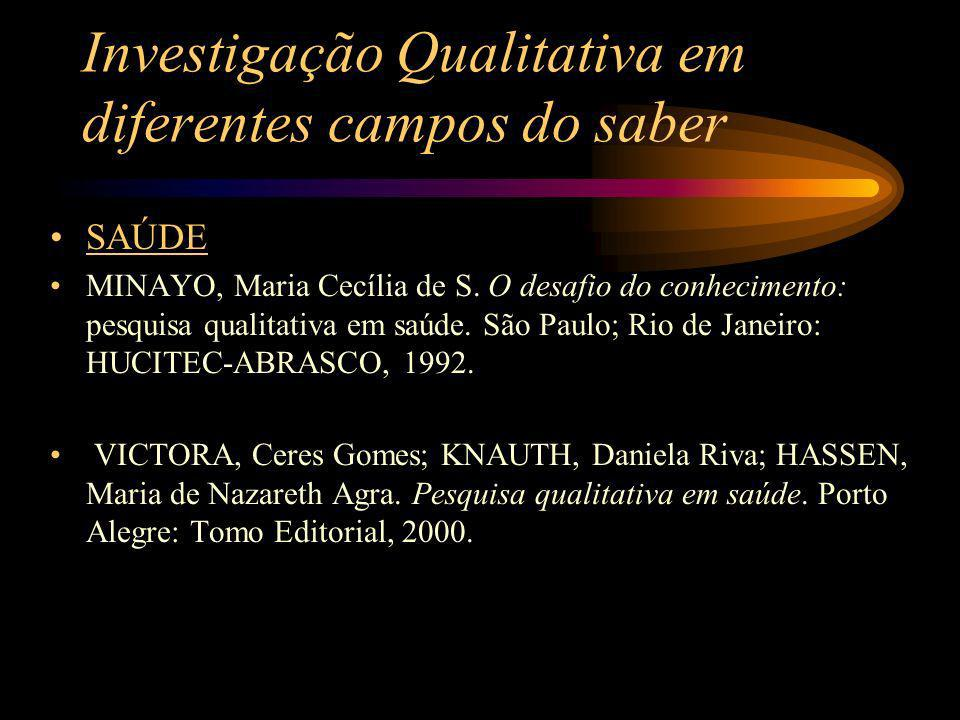 Investigação Qualitativa em diferentes campos do saber SAÚDE MINAYO, Maria Cecília de S. O desafio do conhecimento: pesquisa qualitativa em saúde. São