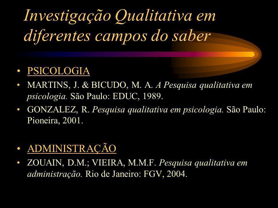 Investigação Qualitativa em diferentes campos do saber PSICOLOGIA MARTINS, J. & BICUDO, M. A. A Pesquisa qualitativa em psicologia. São Paulo: EDUC, 1