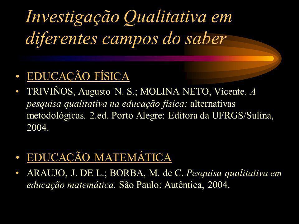Investigação Qualitativa em diferentes campos do saber EDUCAÇÃO FÍSICA TRIVIÑOS, Augusto N. S.; MOLINA NETO, Vicente. A pesquisa qualitativa na educaç