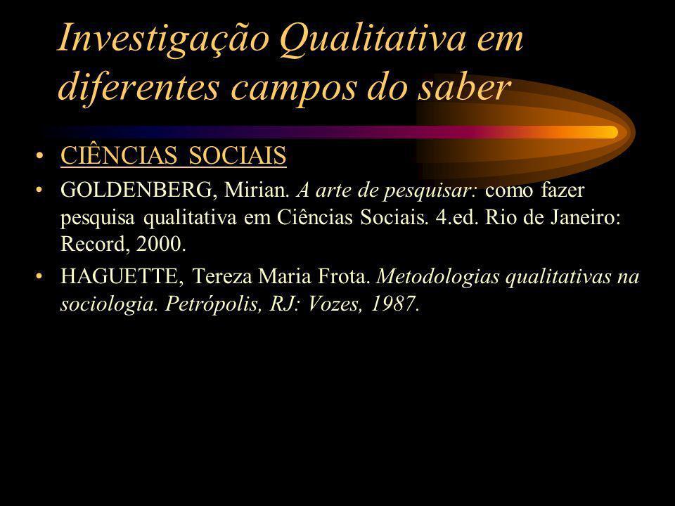 Investigação Qualitativa em diferentes campos do saber CIÊNCIAS SOCIAIS GOLDENBERG, Mirian. A arte de pesquisar: como fazer pesquisa qualitativa em Ci
