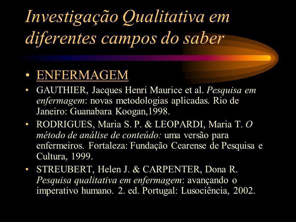 Investigação Qualitativa em diferentes campos do saber EDUCAÇÃO ANDRÉ, Marli Eliza D.