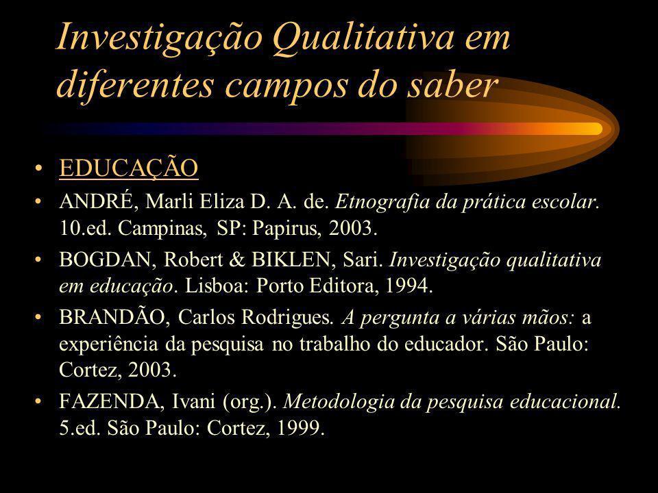 Investigação Qualitativa em diferentes campos do saber EDUCAÇÃO ANDRÉ, Marli Eliza D. A. de. Etnografia da prática escolar. 10.ed. Campinas, SP: Papir