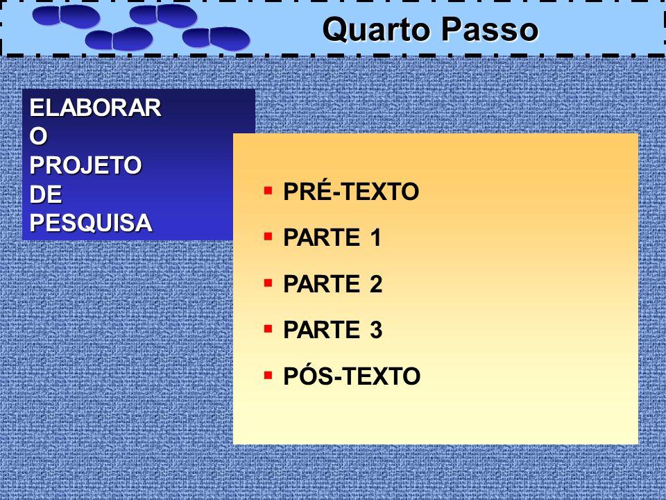 ELABORAROPROJETODEPESQUISA PRÉ-TEXTO PARTE 1 PARTE 2 PARTE 3 PÓS-TEXTO Quarto Passo Quarto Passo