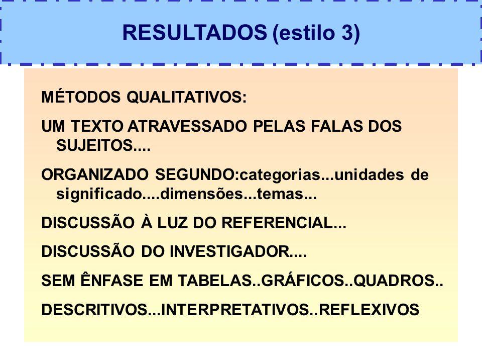 RESULTADOS (estilo 3) MÉTODOS QUALITATIVOS: UM TEXTO ATRAVESSADO PELAS FALAS DOS SUJEITOS.... ORGANIZADO SEGUNDO:categorias...unidades de significado.