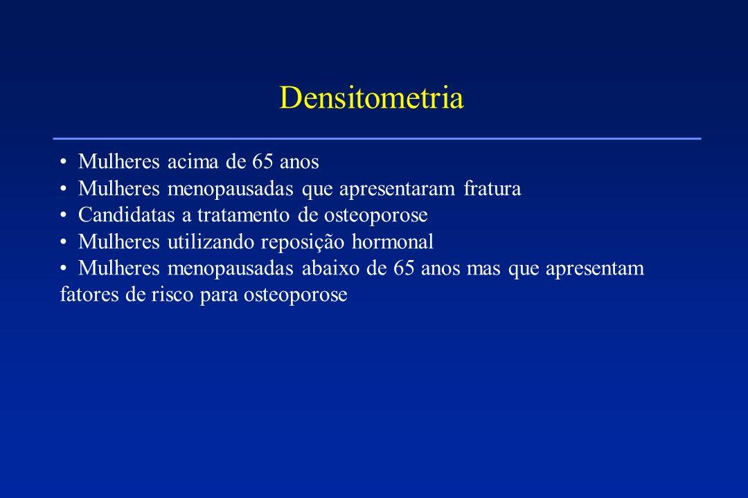 Densitometria Mulheres acima de 65 anos Mulheres menopausadas que apresentaram fratura Candidatas a tratamento de osteoporose Mulheres utilizando repo