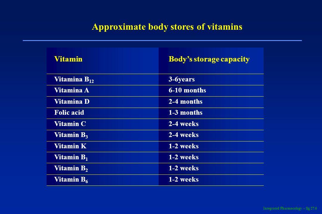 Approximate body stores of vitamins VitaminBodys storage capacity Vitamina B 12 3-6years Vitamina A6-10 months Vitamina D2-4 months Folic acid1-3 mont