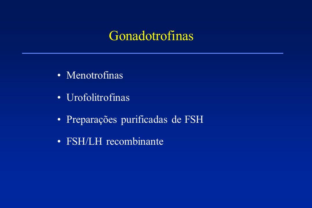 Gonadotrofinas Menotrofinas Urofolitrofinas Preparações purificadas de FSH FSH/LH recombinante