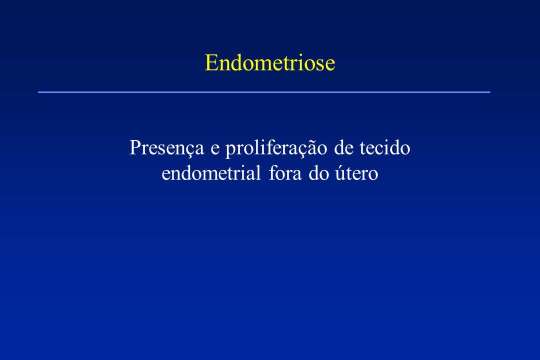 Endometriose Presença e proliferação de tecido endometrial fora do útero