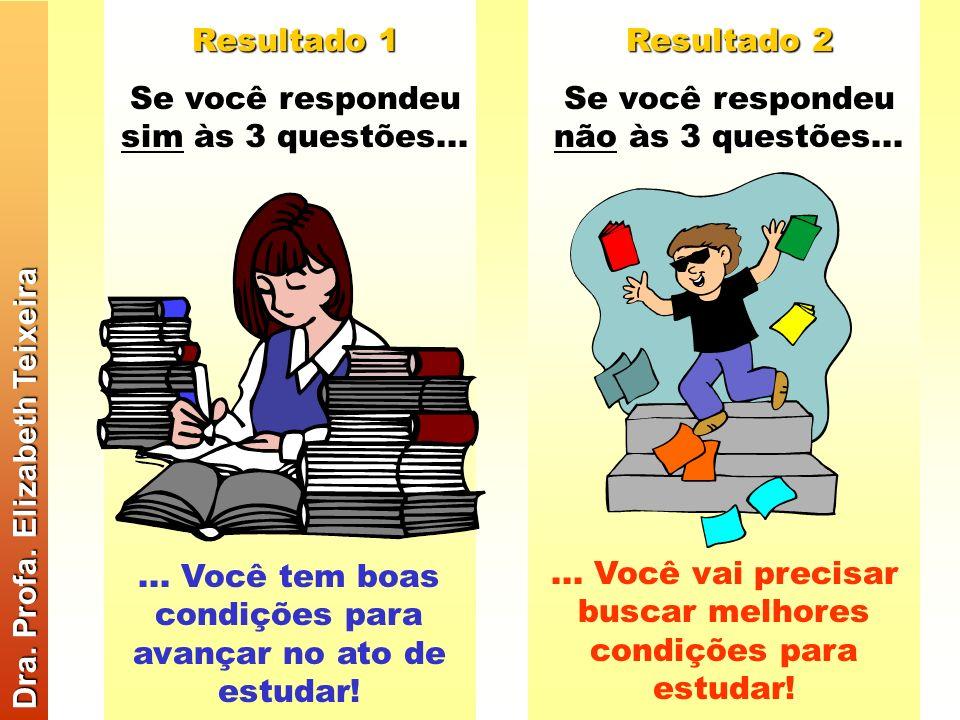 1) Você sempre cumpre uma agenda de estudo, marcando a hora para estudar e a matéria, dia a dia, para toda a semana? 2) Na sua casa há um lugar especi