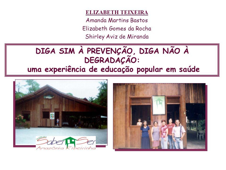 DIGA SIM À PREVENÇÃO, DIGA NÃO À DEGRADAÇÃO: uma experiência de educação popular em saúde ELIZABETH TEIXEIRA Amanda Martins Bastos Elizabeth Gomes da