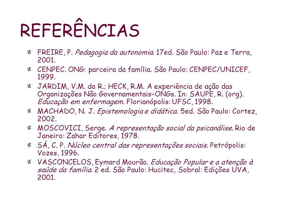 REFERÊNCIAS FREIRE, P. Pedagogia da autonomia. 17ed. São Paulo: Paz e Terra, 2001. CENPEC. ONG: parceira da família. São Paulo: CENPEC/UNICEF, 1999. J