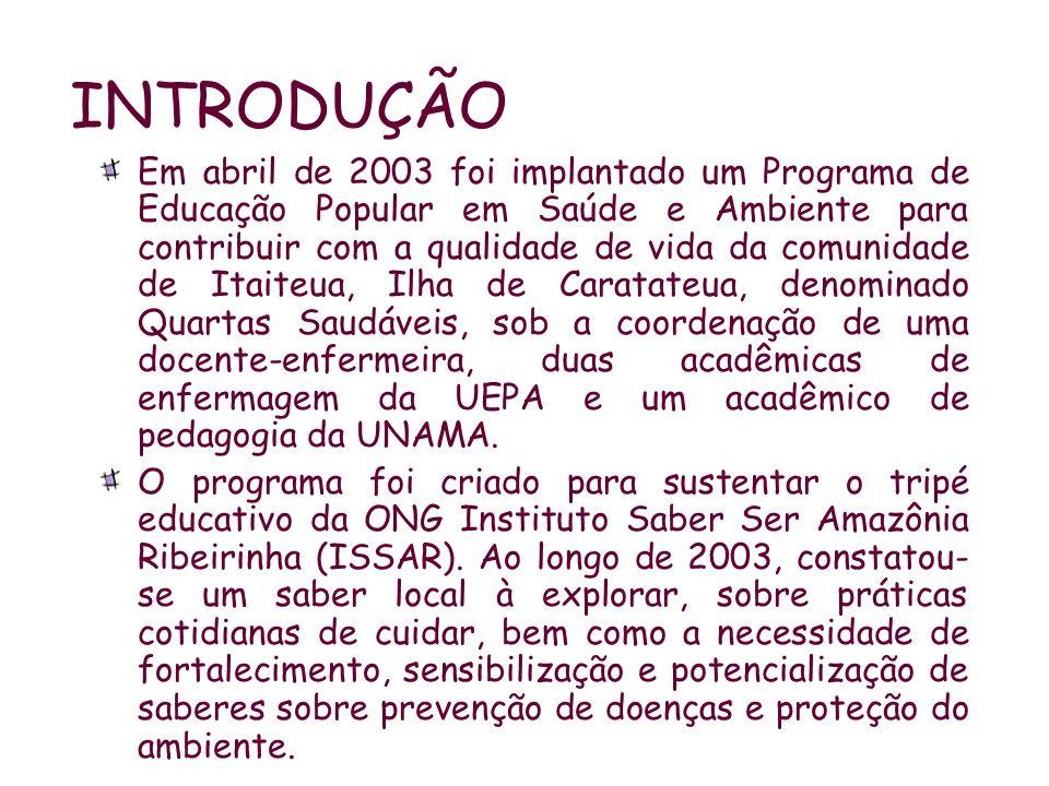 INTRODUÇÃO Em abril de 2003 foi implantado um Programa de Educação Popular em Saúde e Ambiente para contribuir com a qualidade de vida da comunidade d