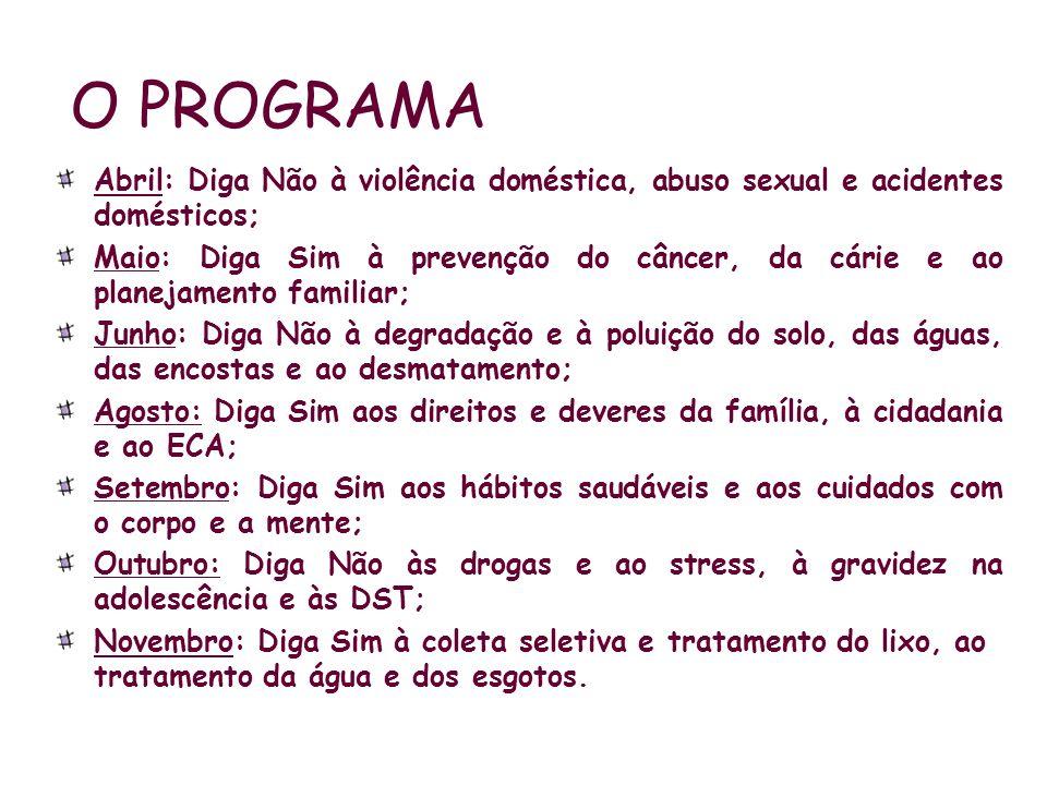 O PROGRAMA Abril: Diga Não à violência doméstica, abuso sexual e acidentes domésticos; Maio: Diga Sim à prevenção do câncer, da cárie e ao planejament