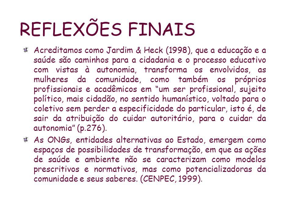 REFLEXÕES FINAIS Acreditamos como Jardim & Heck (1998), que a educação e a saúde são caminhos para a cidadania e o processo educativo com vistas à aut