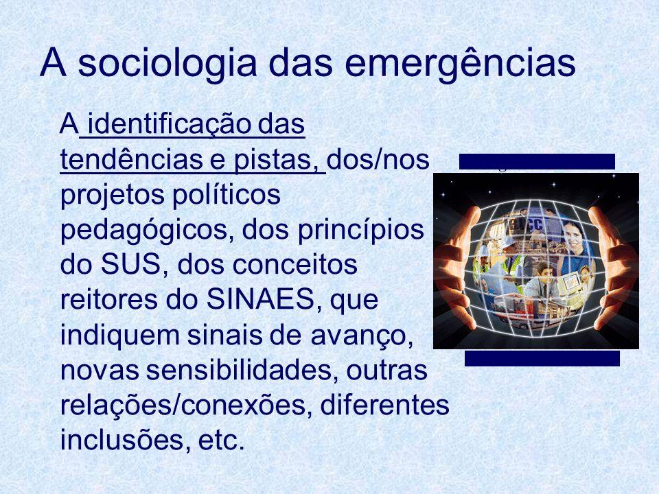 A sociologia das emergências A identificação das tendências e pistas, dos/nos projetos políticos pedagógicos, dos princípios do SUS, dos conceitos rei