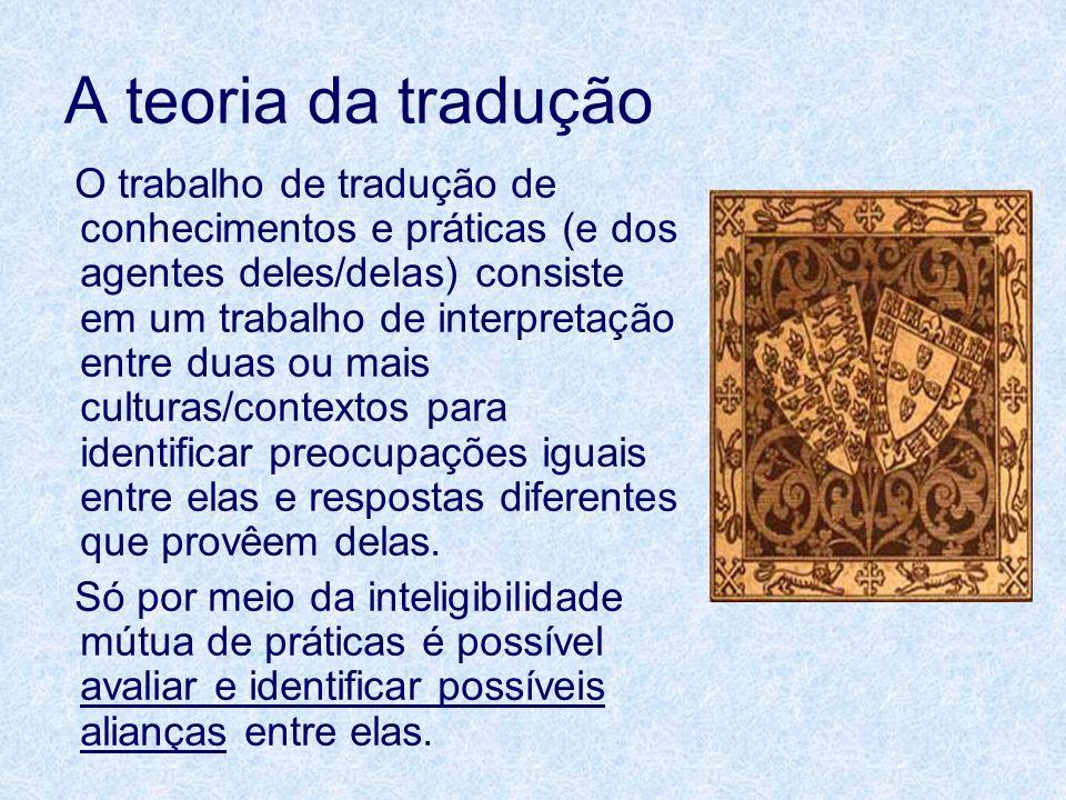 A teoria da tradução O trabalho de tradução de conhecimentos e práticas (e dos agentes deles/delas) consiste em um trabalho de interpretação entre dua