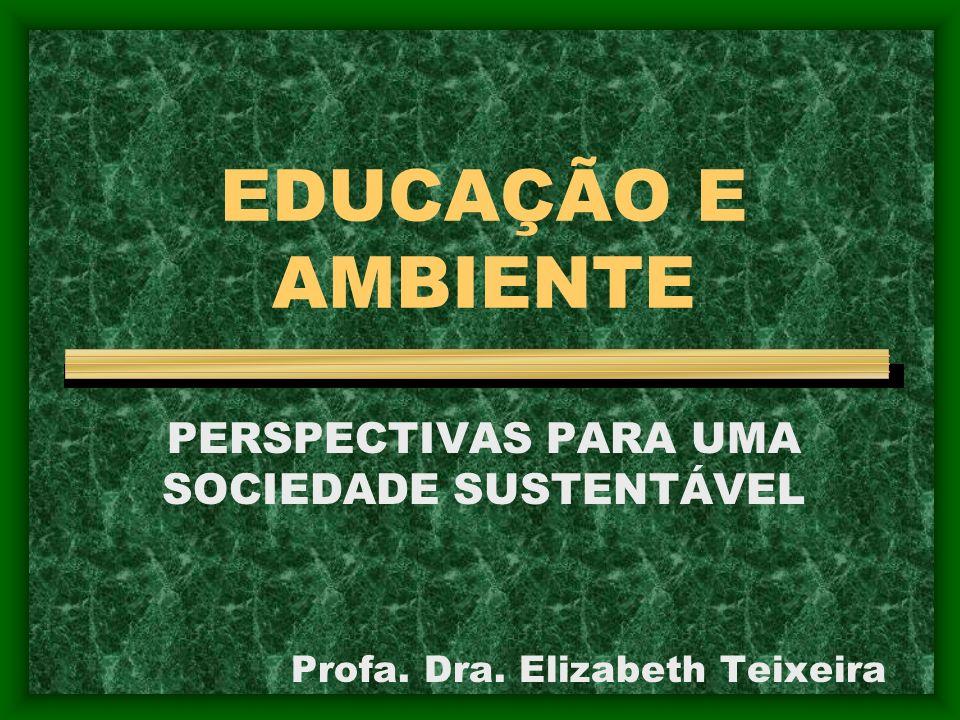 EDUCAÇÃO E AMBIENTE PERSPECTIVAS PARA UMA SOCIEDADE SUSTENTÁVEL Profa. Dra. Elizabeth Teixeira
